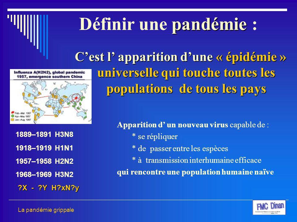 Définir une pandémie : C'est l' apparition d'une « épidémie » universelle qui touche toutes les populations de tous les pays.