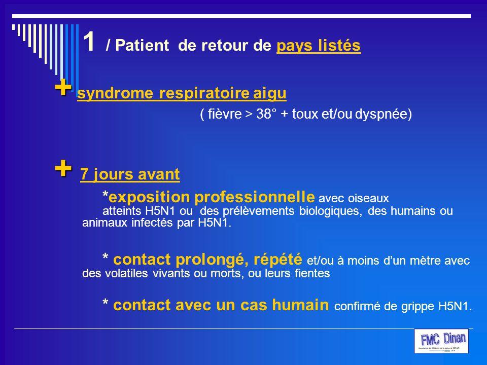 + syndrome respiratoire aigu + 7 jours avant