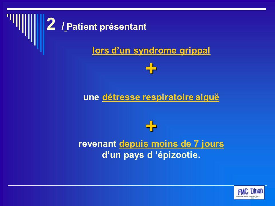 + 2 / Patient présentant lors d'un syndrome grippal