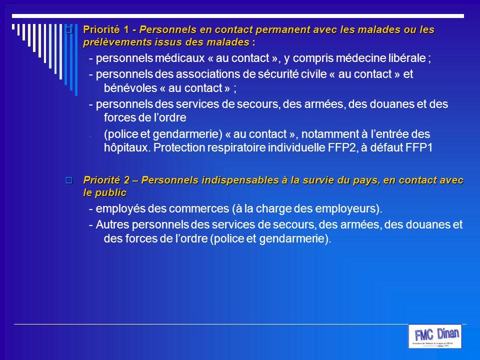 - personnels médicaux « au contact », y compris médecine libérale ;