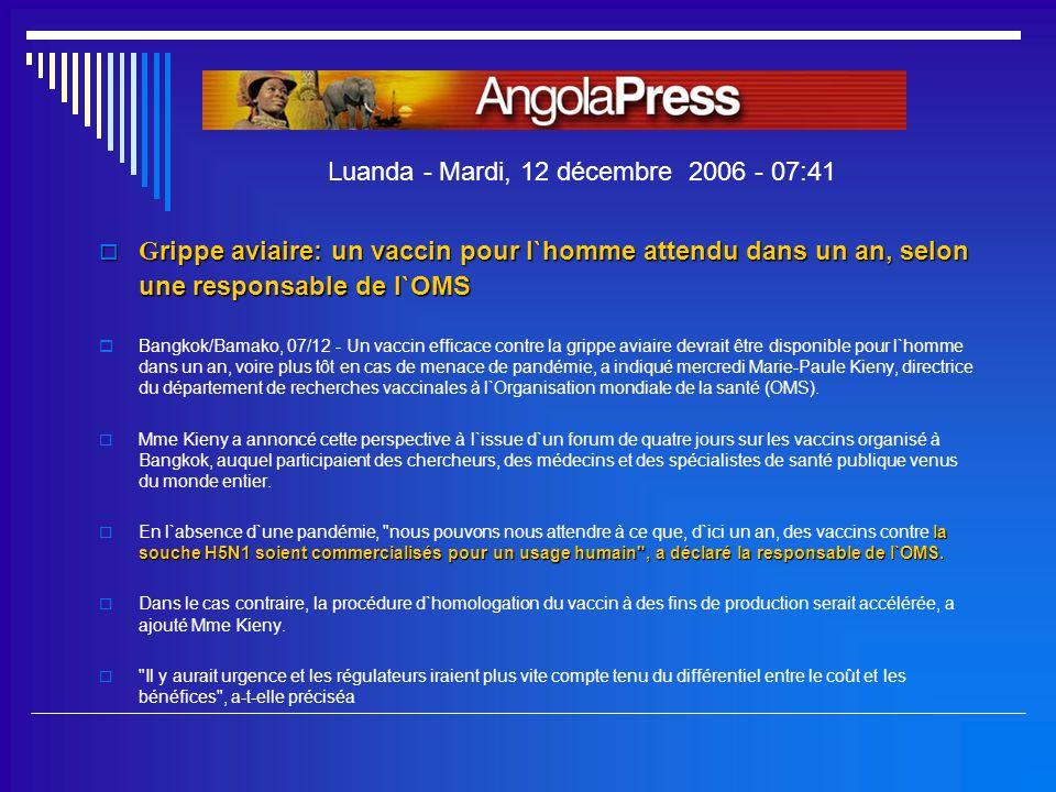 Luanda - Mardi, 12 décembre 2006 - 07:41