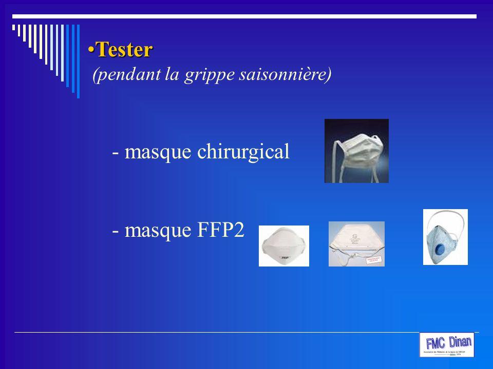 Tester (pendant la grippe saisonnière) masque chirurgical masque FFP2