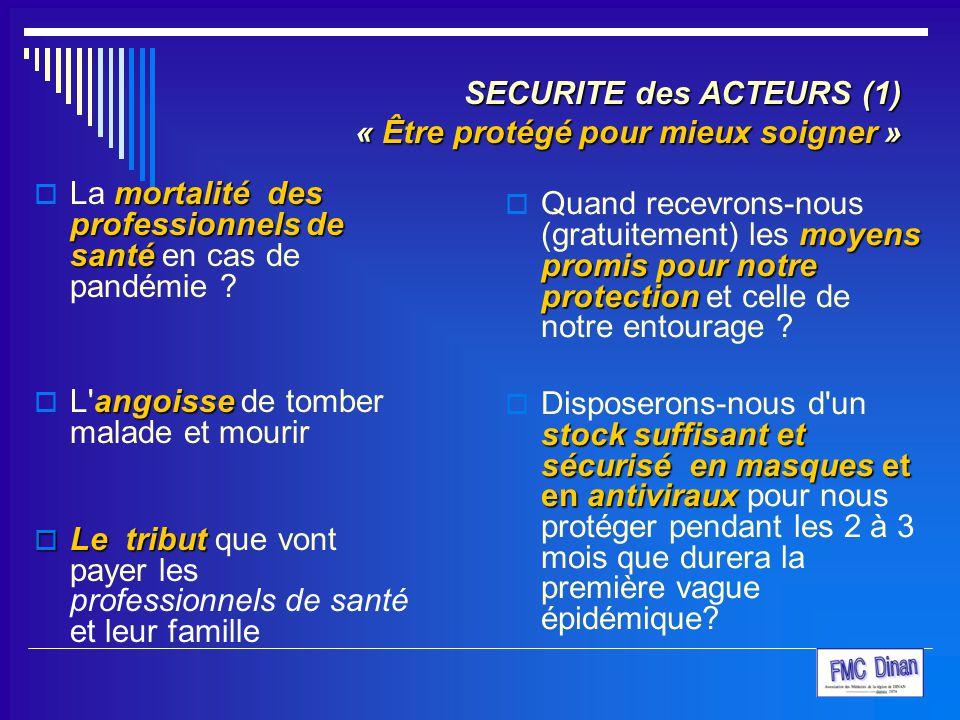 SECURITE des ACTEURS (1) « Être protégé pour mieux soigner »