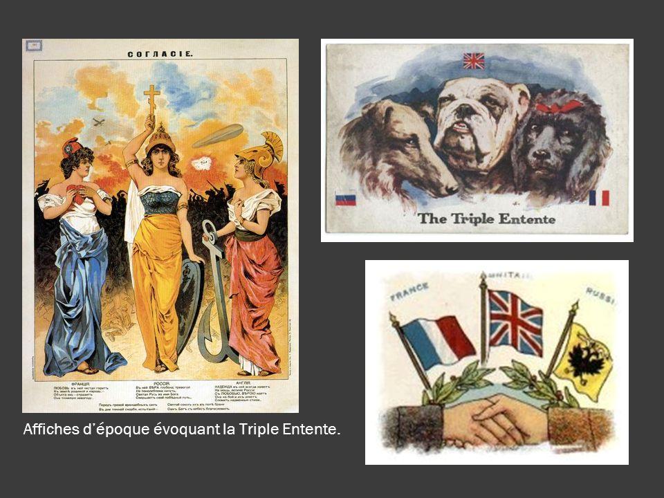 Affiches d'époque évoquant la Triple Entente.
