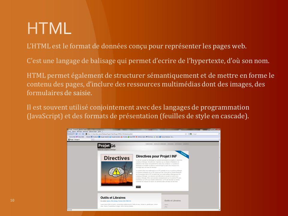 HTML L'HTML est le format de données conçu pour représenter les pages web.