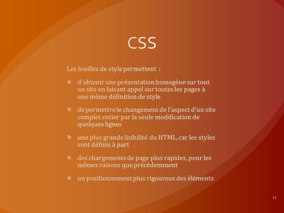 CSS Les feuilles de style permettent :