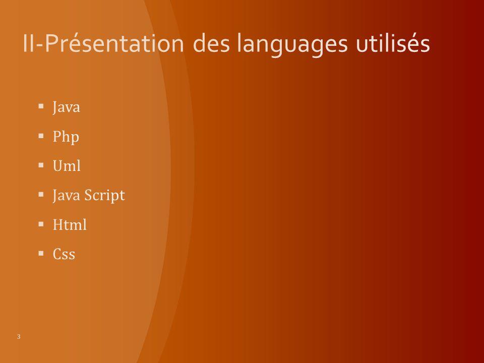 II-Présentation des languages utilisés