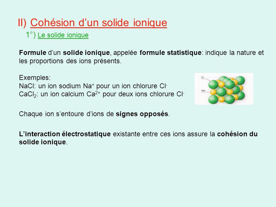 II) Cohésion d'un solide ionique