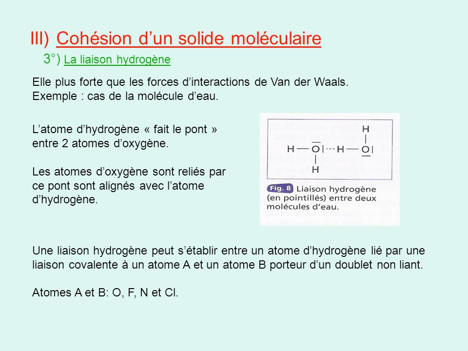 III) Cohésion d'un solide moléculaire