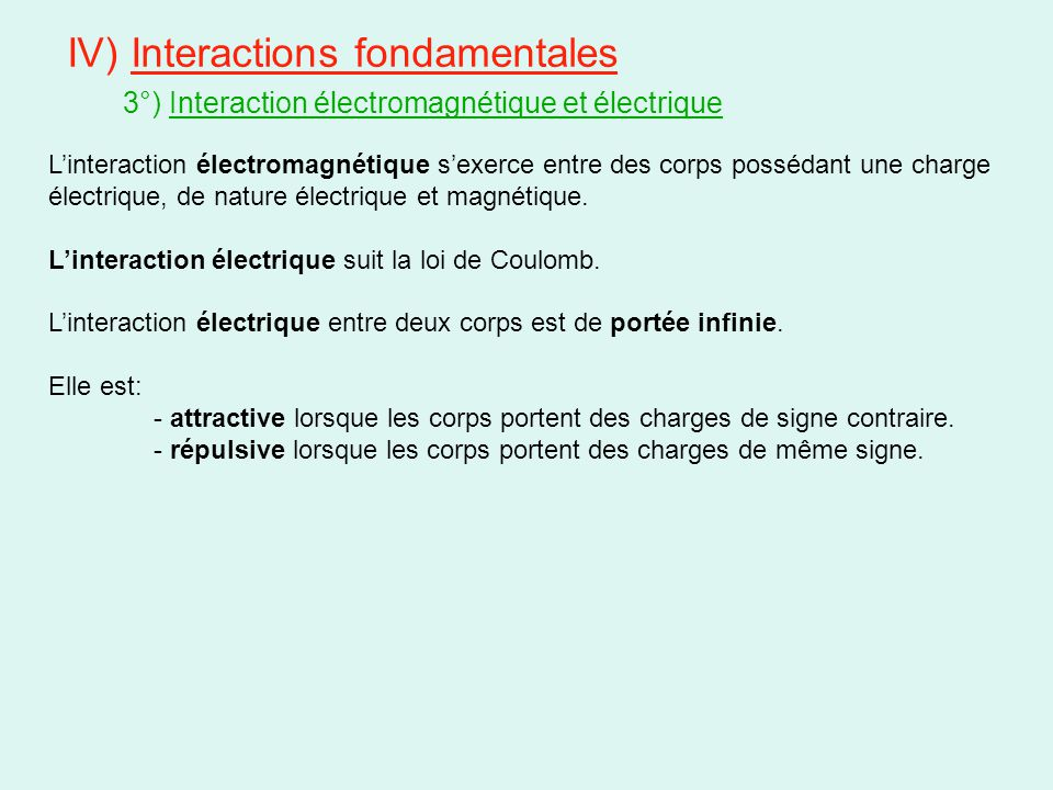 IV) Interactions fondamentales