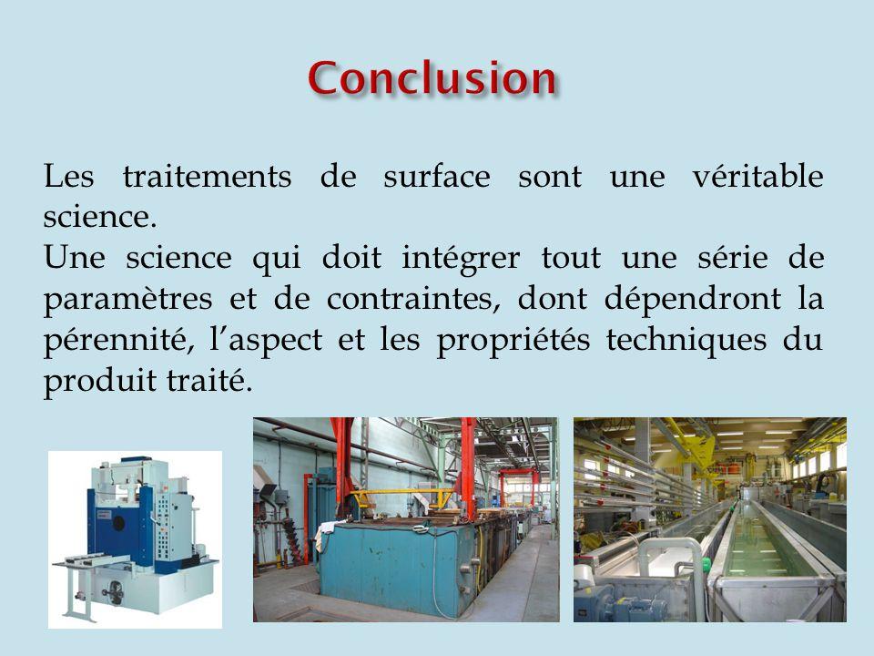 Conclusion Les traitements de surface sont une véritable science.