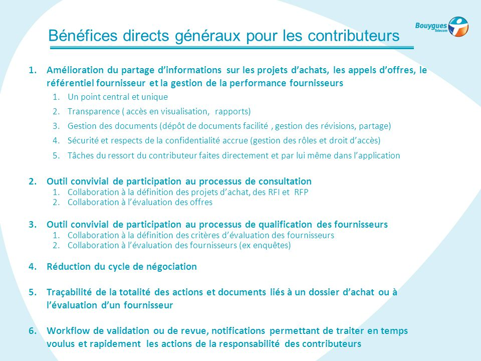 Bénéfices directs généraux pour les contributeurs