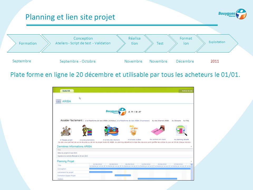 Planning et lien site projet