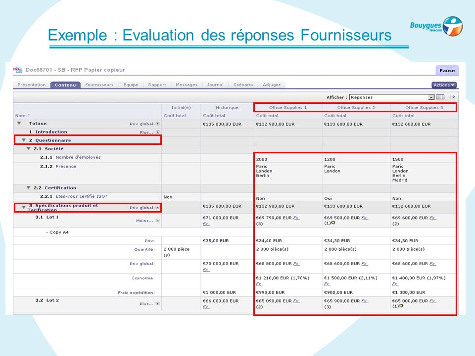 Exemple : Evaluation des réponses Fournisseurs