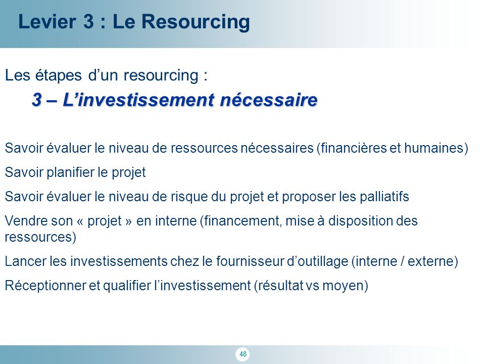 Levier 3 : Le Resourcing 3 – L'investissement nécessaire