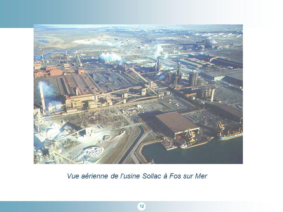 Vue aérienne de l usine Sollac à Fos sur Mer
