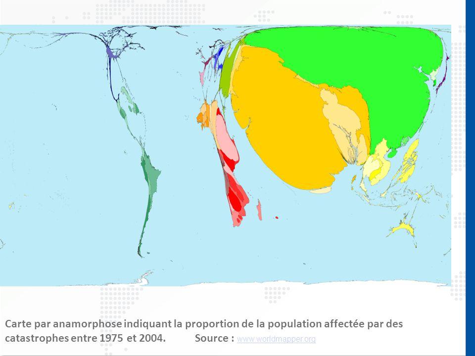 Carte par anamorphose indiquant la proportion de la population affectée par des catastrophes entre 1975 et 2004.