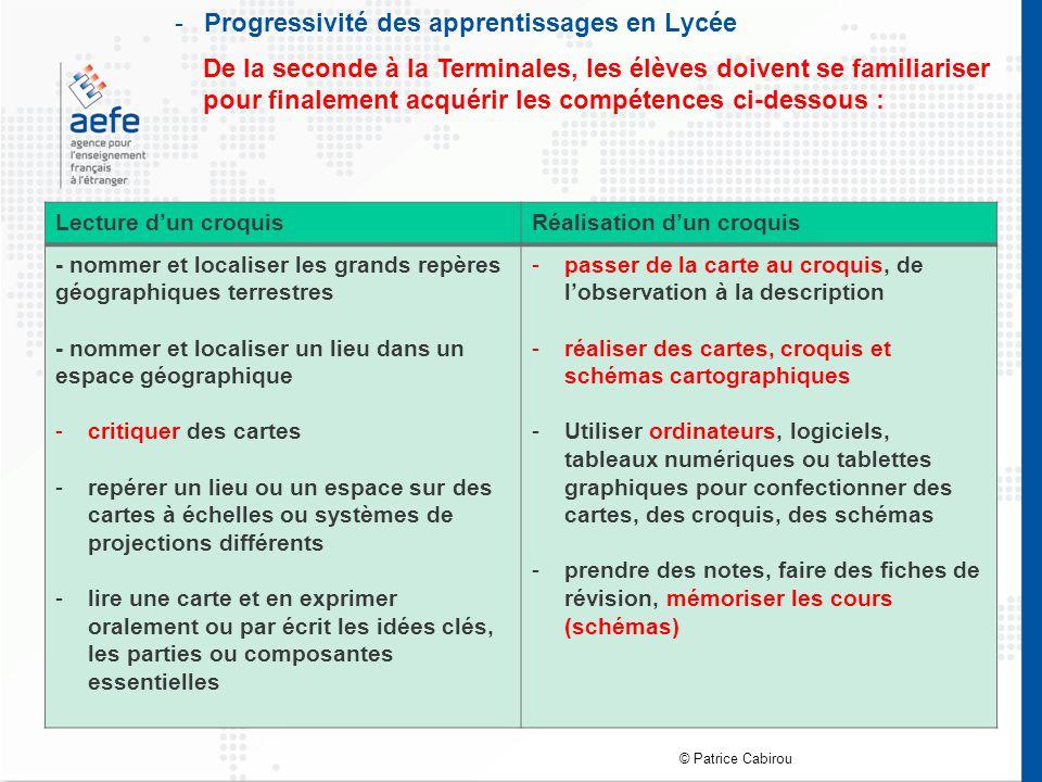 Progressivité des apprentissages en Lycée