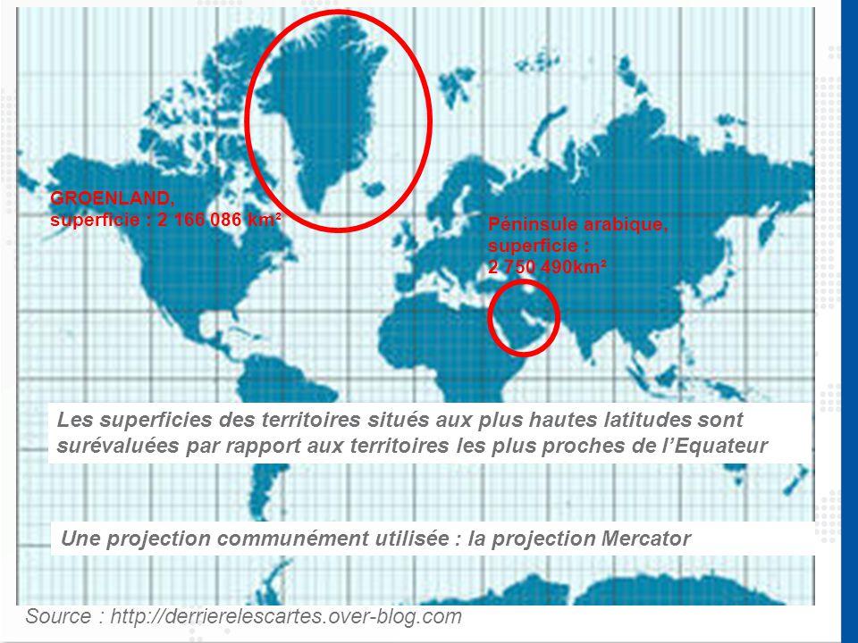 Une projection communément utilisée : la projection Mercator