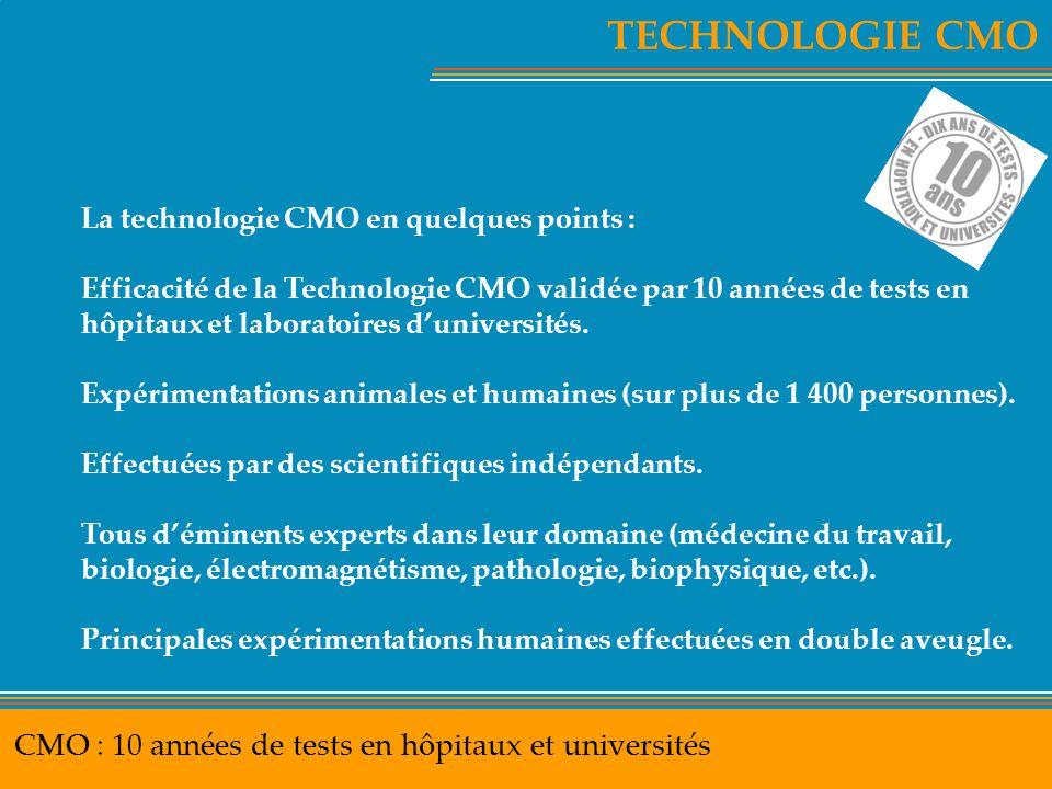 TECHNOLOGIE CMO CMO : 10 années de tests en hôpitaux et universités
