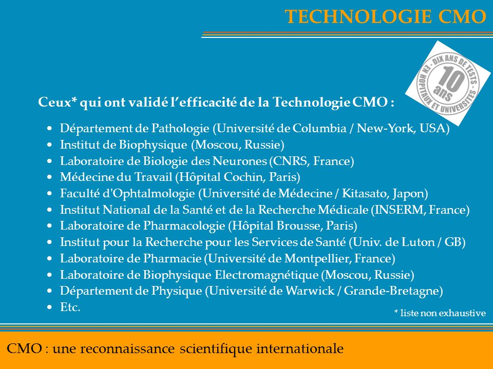 TECHNOLOGIE CMO CMO : une reconnaissance scientifique internationale