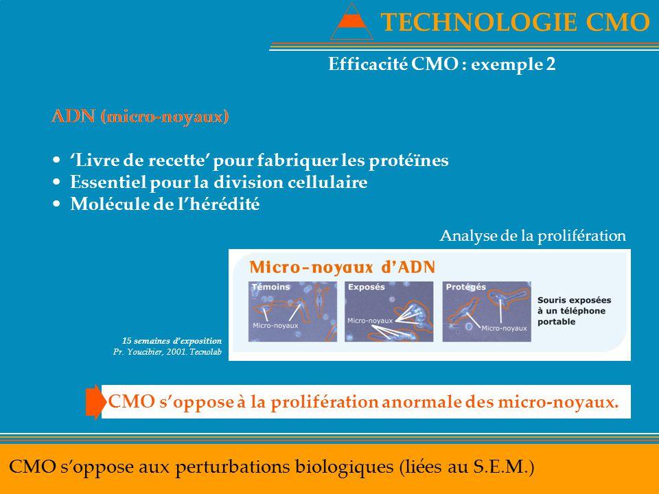 TECHNOLOGIE CMO Efficacité CMO : exemple 2. ADN (micro-noyaux) 'Livre de recette' pour fabriquer les protéïnes.