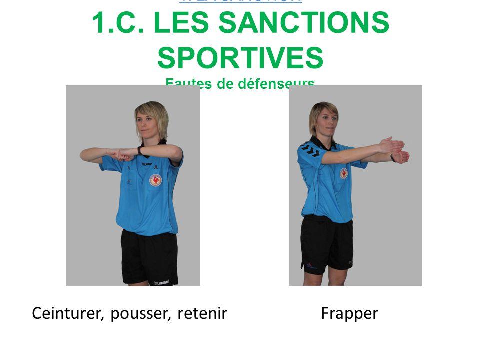 1. LA SANCTION 1.C. LES SANCTIONS SPORTIVES Fautes de défenseurs