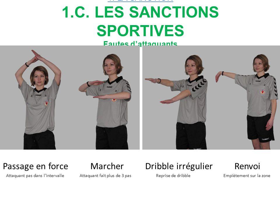 1. LA SANCTION 1.C. LES SANCTIONS SPORTIVES Fautes d'attaquants