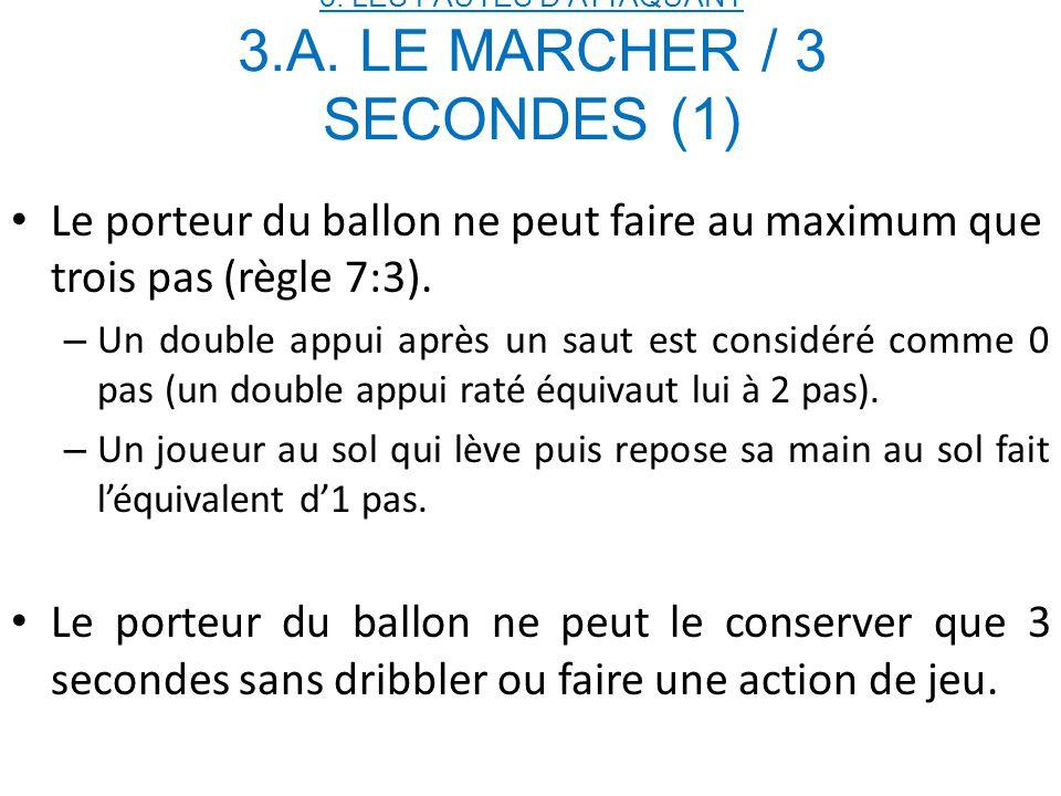 3. LES FAUTES D'ATTAQUANT 3.A. LE MARCHER / 3 SECONDES (1)