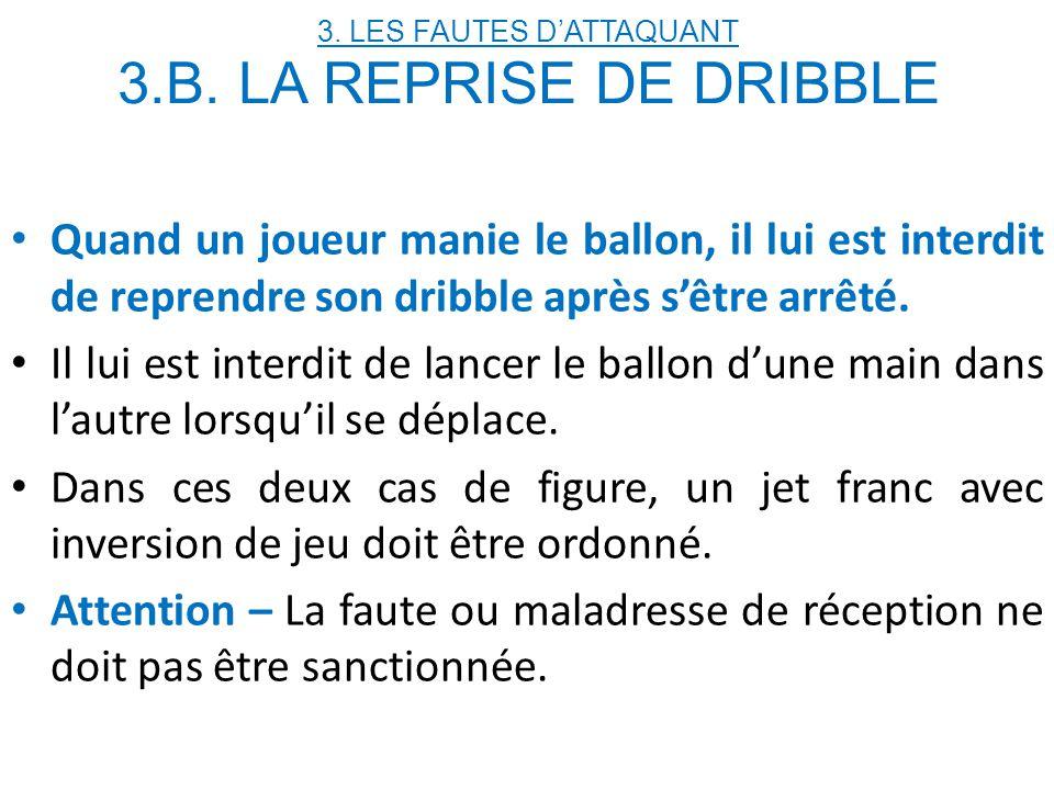 3. LES FAUTES D'ATTAQUANT 3.B. LA REPRISE DE DRIBBLE