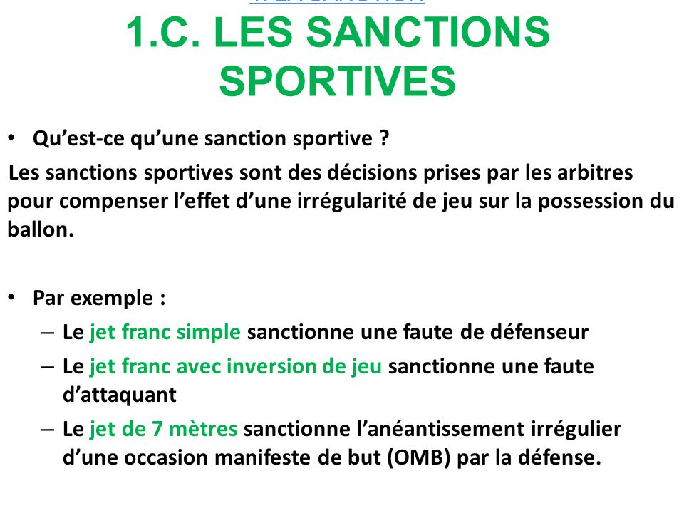 1. LA SANCTION 1.C. LES SANCTIONS SPORTIVES
