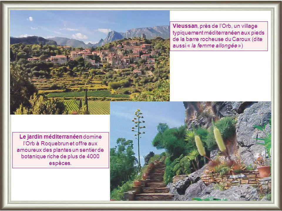 Vieussan, près de l'Orb, un village typiquement méditerranéen aux pieds de la barre rocheuse du Caroux (dite aussi « la femme allongée »)