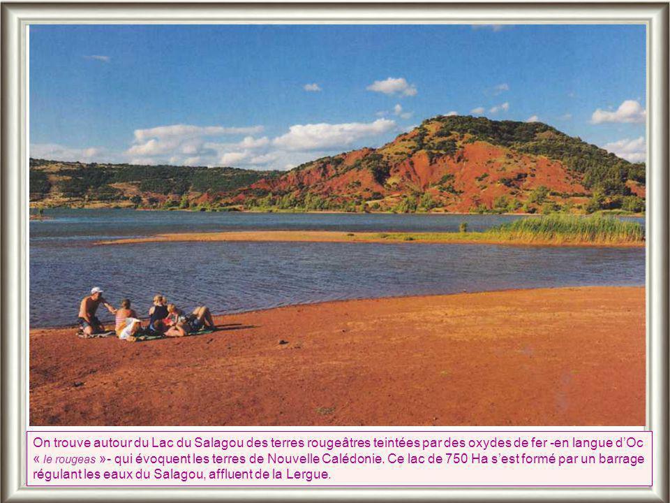 On trouve autour du Lac du Salagou des terres rougeâtres teintées par des oxydes de fer -en langue d'Oc « le rougeas »- qui évoquent les terres de Nouvelle Calédonie.