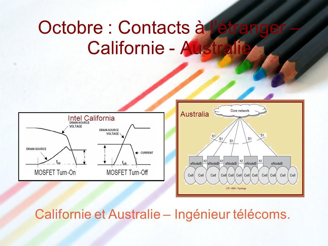 Octobre : Contacts à l étranger – Californie - Australie