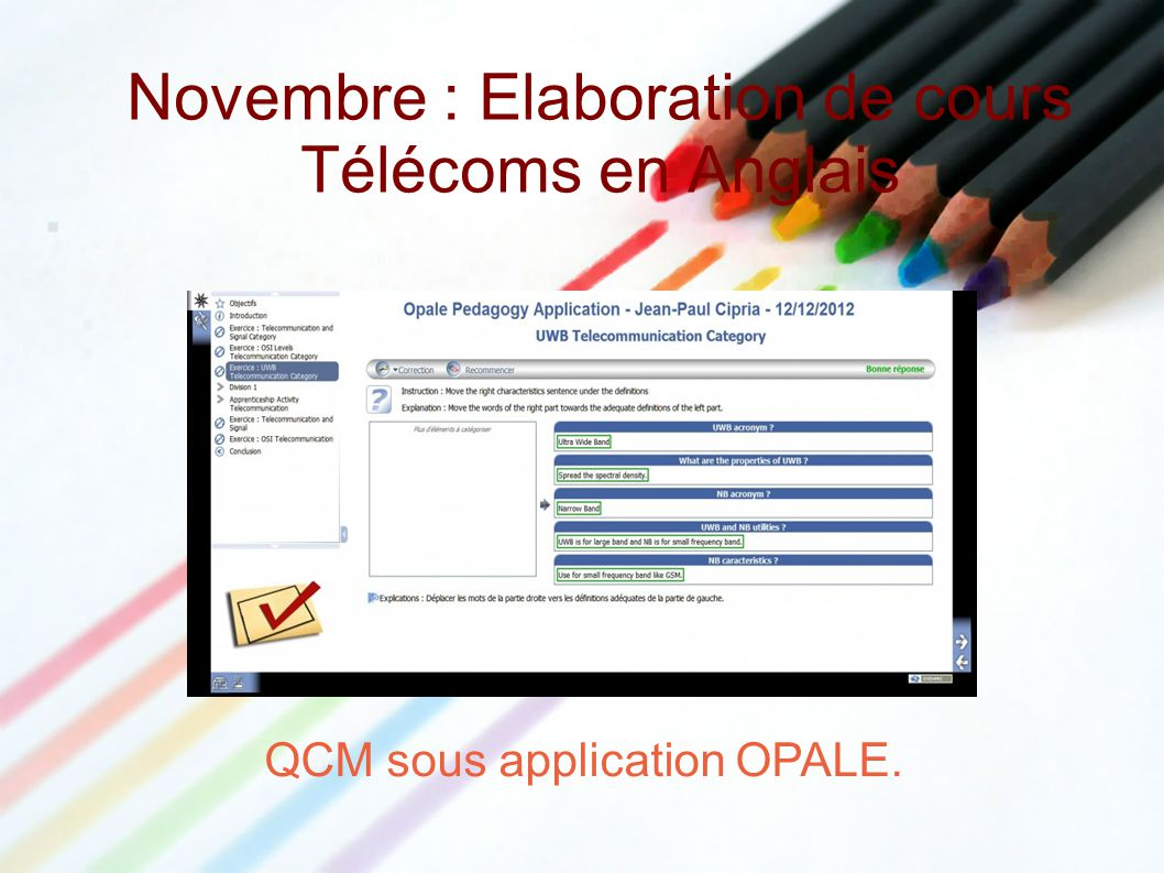 Novembre : Elaboration de cours Télécoms en Anglais