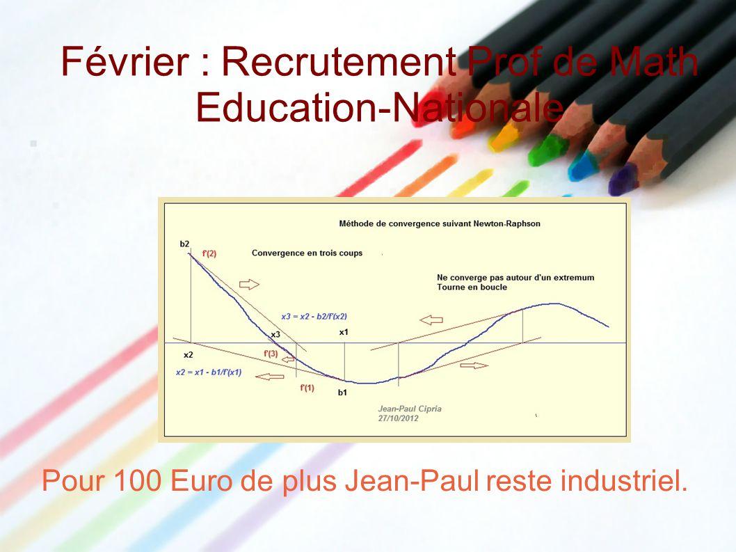 Février : Recrutement Prof de Math Education-Nationale