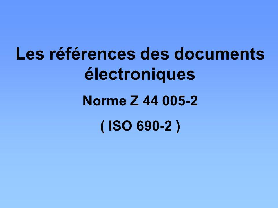 Les références des documents électroniques