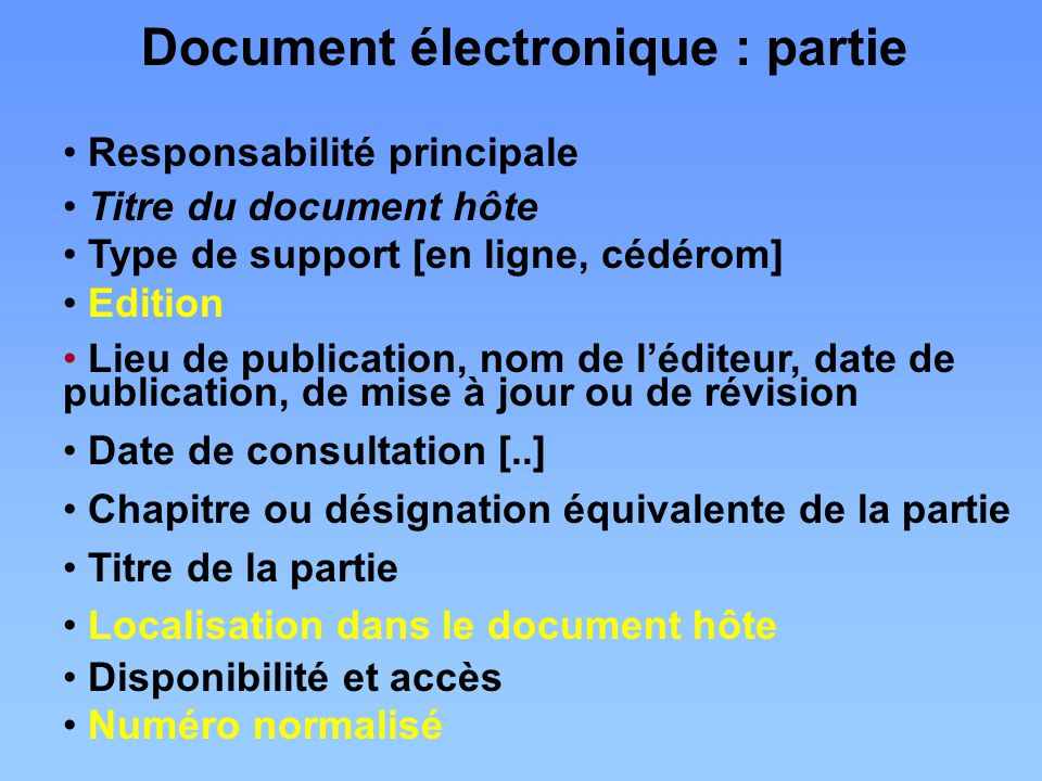 Document électronique : partie