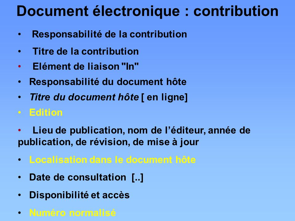 Document électronique : contribution