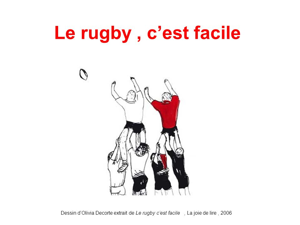 Le rugby , c'est facile Dessin d'Olivia Decorte extrait de Le rugby c'est facile , La joie de lire , 2006.