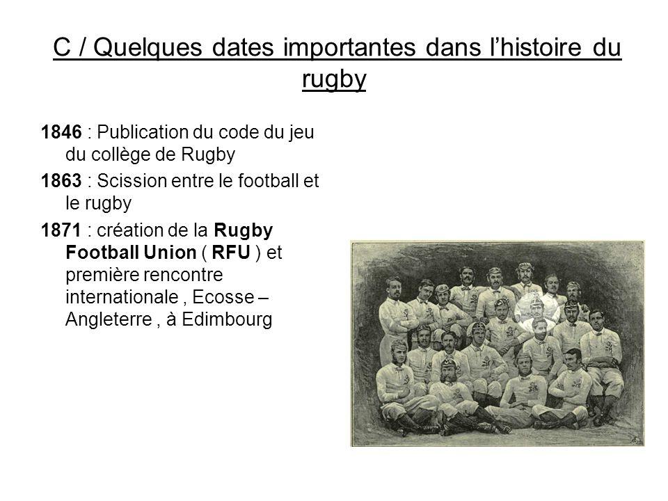 C / Quelques dates importantes dans l'histoire du rugby