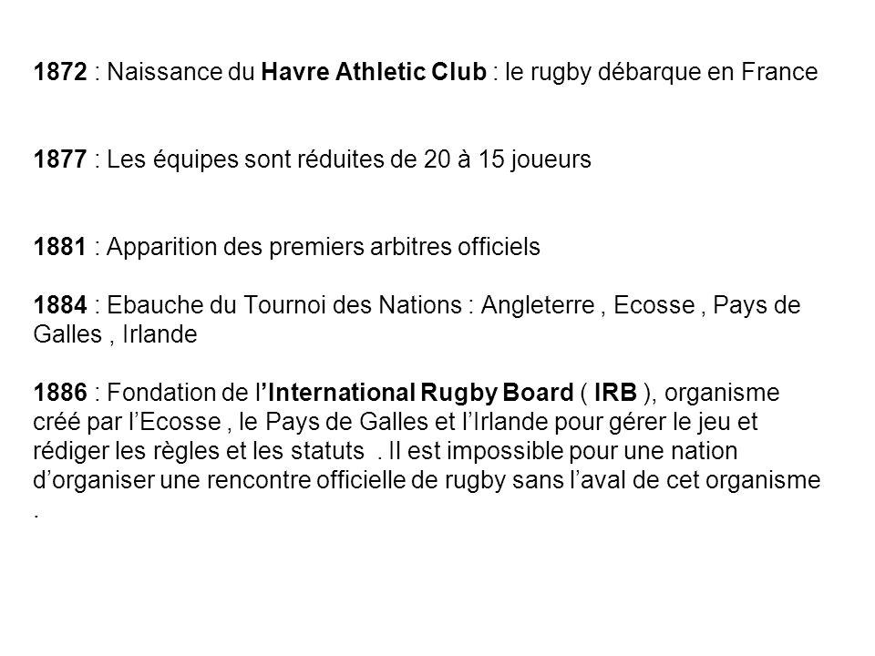 1872 : Naissance du Havre Athletic Club : le rugby débarque en France 1877 : Les équipes sont réduites de 20 à 15 joueurs 1881 : Apparition des premiers arbitres officiels 1884 : Ebauche du Tournoi des Nations : Angleterre , Ecosse , Pays de Galles , Irlande 1886 : Fondation de l'International Rugby Board ( IRB ), organisme créé par l'Ecosse , le Pays de Galles et l'Irlande pour gérer le jeu et rédiger les règles et les statuts .
