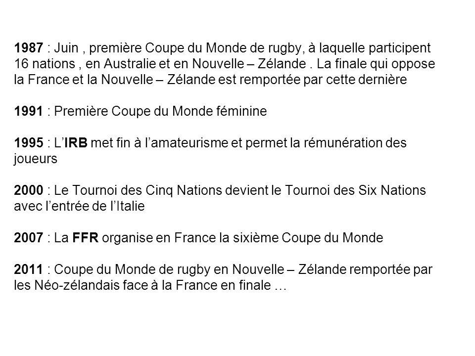 1987 : Juin , première Coupe du Monde de rugby, à laquelle participent 16 nations , en Australie et en Nouvelle – Zélande .