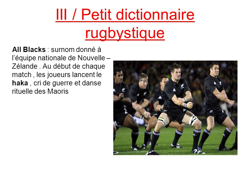 III / Petit dictionnaire rugbystique