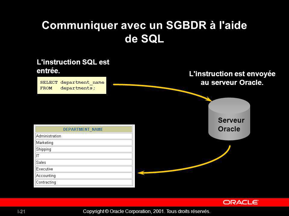 Communiquer avec un SGBDR à l aide de SQL