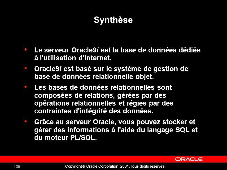 Synthèse Le serveur Oracle9i est la base de données dédiée à l utilisation d Internet.