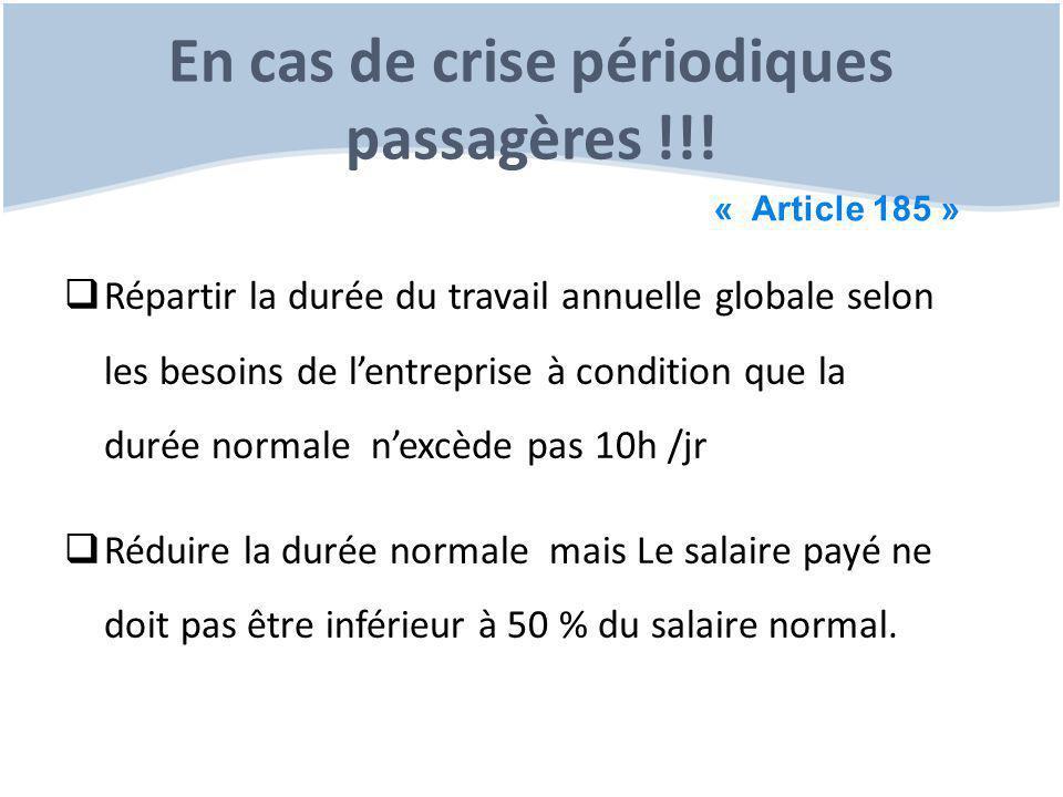 En cas de crise périodiques passagères !!!
