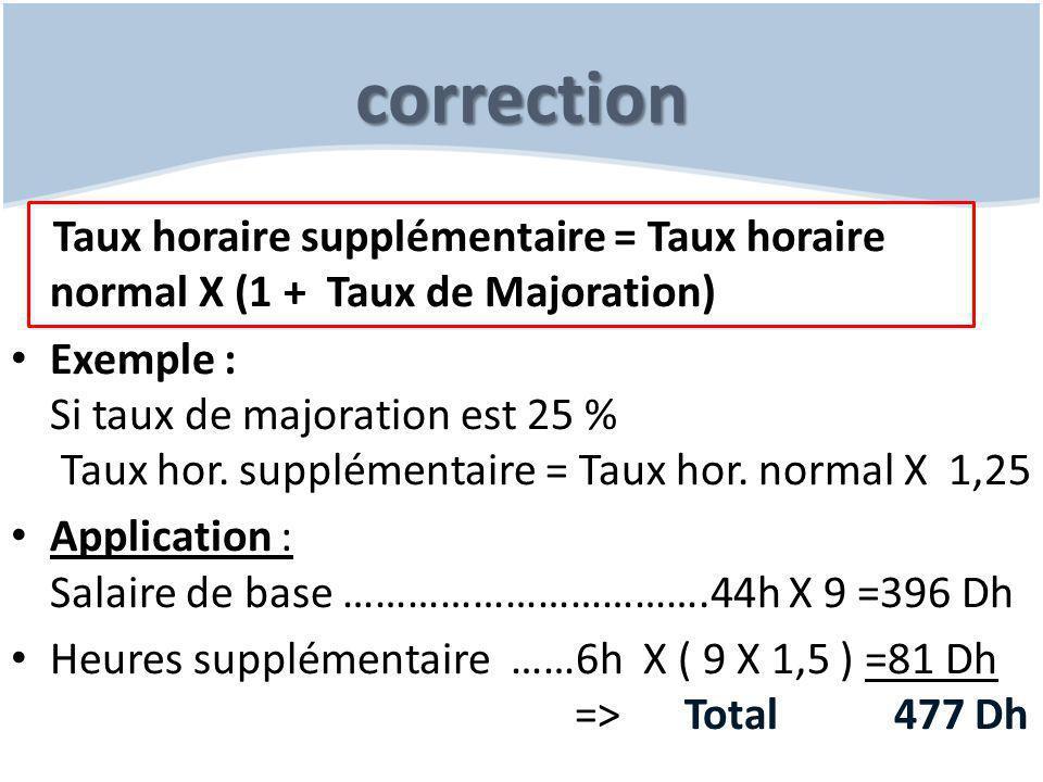 correction Taux horaire supplémentaire = Taux horaire normal X (1 + Taux de Majoration)