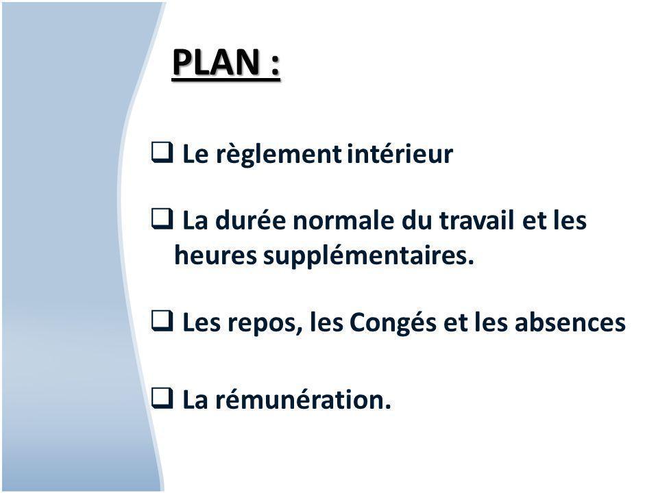 PLAN : Le règlement intérieur