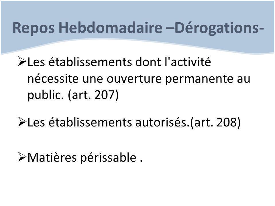Repos Hebdomadaire –Dérogations-